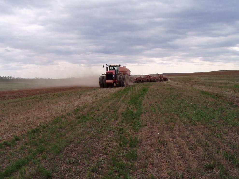 Трактор на земельном участке