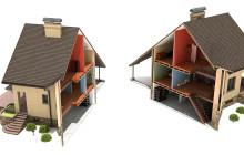 Макет дома поделен на две части