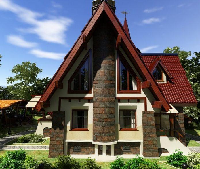 Интересный проект загородного дома в стиле шале