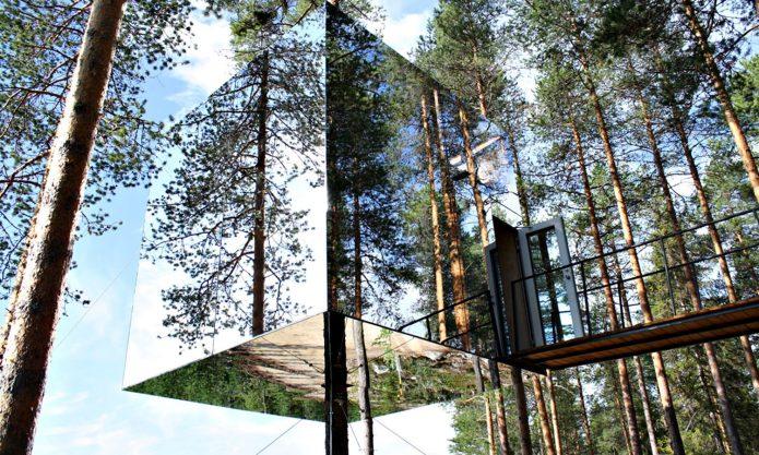Зеркальный лесной дом на дереве