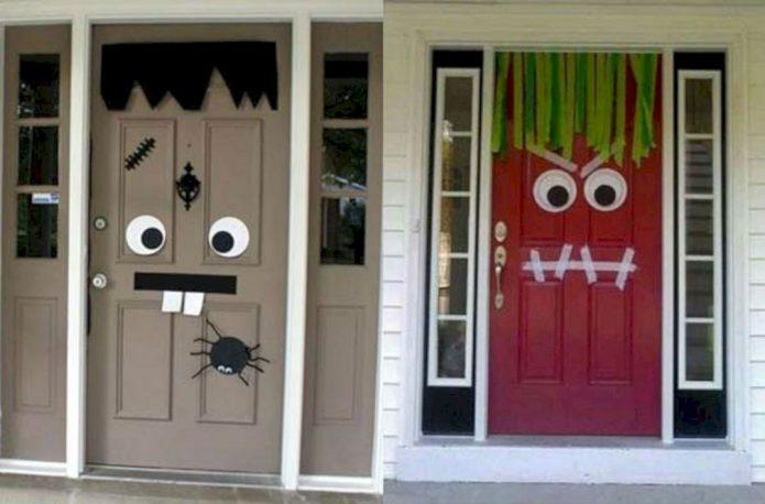 Оформление входных дверей к Хэллоуину