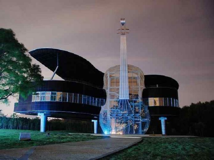 музыкальное здание хуайнань китай вечером