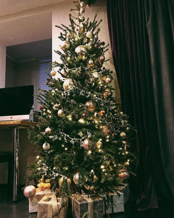 Новогодняя ёлка в квартире, где живёт Настя Ивлеева