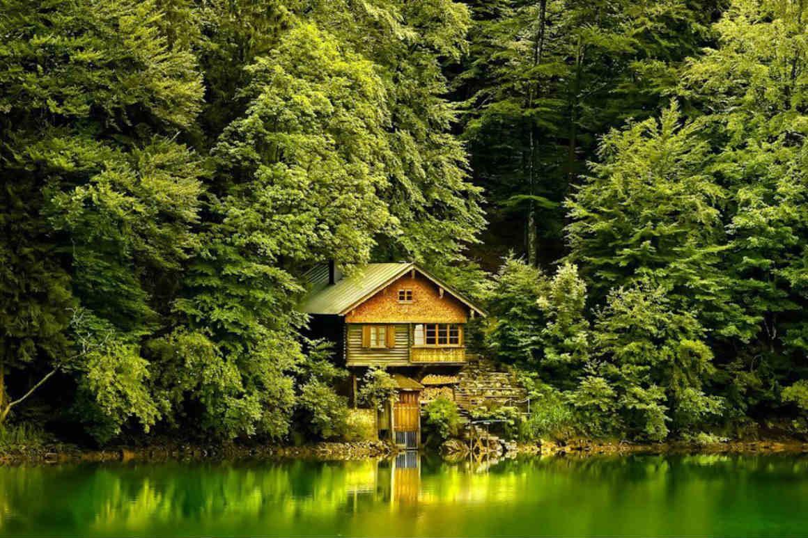 Дети, дом у озера картинки красивые