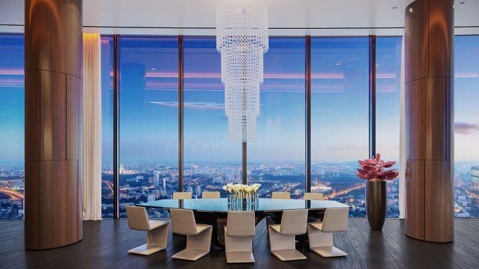Высокие потолки в элитных апартаментах башни