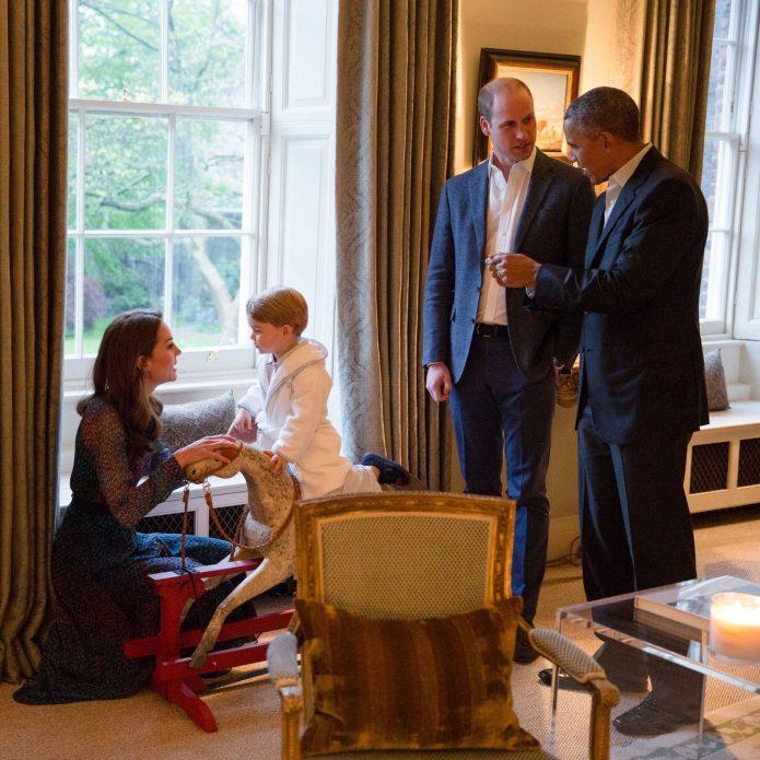 Кейт Миддлтон, принц Джордж, принц Уильям и Барак Обама