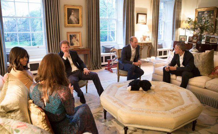 Принц Уильям и принц Гарри, Кейт Миддлтон, Мишель и Барак Обама